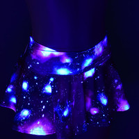 UV Glow Nebula Galaxy Print Circle Cut Mini Skirt Rave Clubwear EDM  -150022