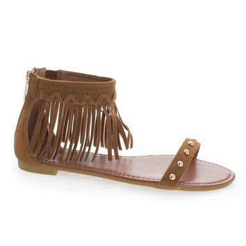 Candice53M Chestnut By Bamboo, Moccasin Open Toe Studded Ankle Fringe Cuff Flat Sandals