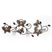 Decorative Iron Tea Light Candle Sconce with Butterflies (Holds 3 Tea Light Candles)