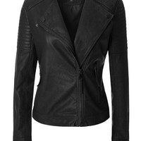 LE3NO Womens Fully Lined Quilted Long Sleeve Zip Up Faux Leather Moto Jacket