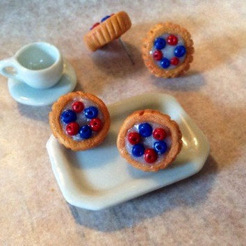 Mini fruit tart earrings polymer clay art