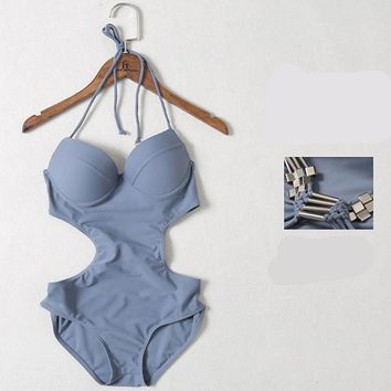 Women's One Piece Swimsuits Solid Color Sexy Backless Swimwear Bathing Suit Summer Quick Dry Triangle Slim Swimsuit