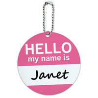 Janet Hello My Name Is Round ID Card Luggage Tag