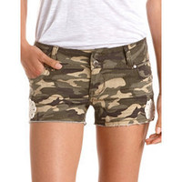 Hot Kiss Crochet Trim Camo Short: Charlotte Russe