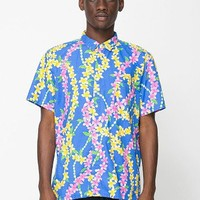 American Apparel - Printed Short Sleeve TropicalButton-Up With Pocket