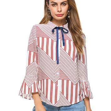 Red Stripe Bow Tie Front Flare Sleeve Shirt