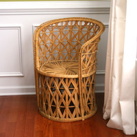 Vintage Rattan Chair. Fall Autumn Home Decor. Wicker. Geometric. Mid Century. Outdoor Alfresco Seating. Boho. Bohemian Chic. Rhapsodyattic.