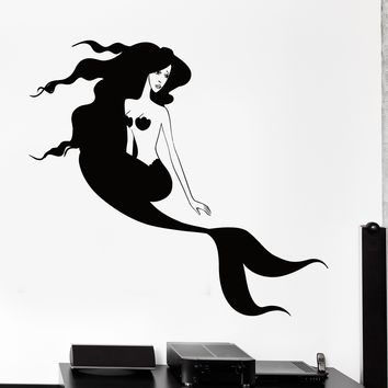 Wall Vinyl Decal Mermaid Girl Romantic Bathroom Ocean Sea Home Decor Unique Gift z4172