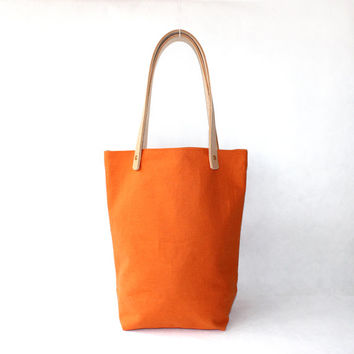 Orang organic Linen Cotton Tote with Natural Leather Handle-Buy one,get a gift for free