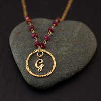 Personalized Initial Necklace - July Birthstone Necklace - Red Ruby Necklace - Custom Stamp Initials - - Wire wrapped chain