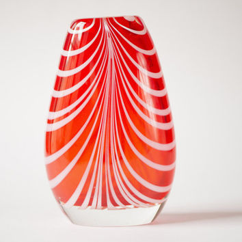 Vintage hand-blown glass vase red white stripes vase heavy Soviet transparent vase home decor