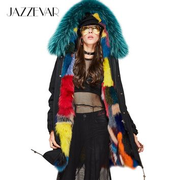 New Fashion Woman Luxurious Multicolor Real Fox fur Military Parka Hooded Coat Outwear Winter Jacket
