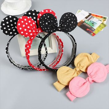 2017 Minnie Mouse Ears girls kids headband hair head band wrap accessories for children hair ornaments turban headwrap headdress