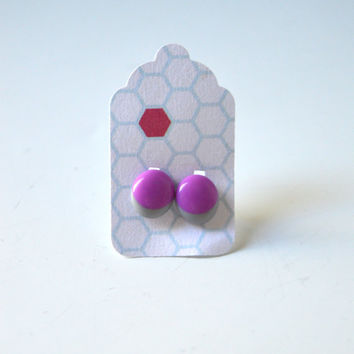 Stud Earrings - Grey and Plum Purple Stud Earrings - Tiny Stud Earrings - Post Earrings - Colorful Earrings - Handmade Enamel Jewelry Studs