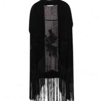 Kimono Style Short Sleeves Embroidery Long Black Blouse With Tassels