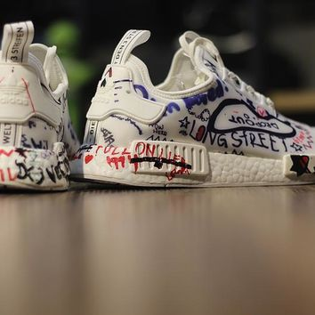 Vetements x Adidas NMD Boost ¡°Custom Graffiti¡± BA7527 Men Women Running Sneaker