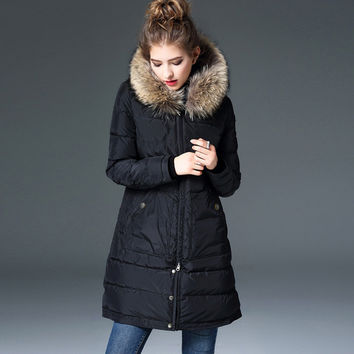 2016 winter coat women long real fur collar hooded thick warm Parkas High quality Europe fashion Brand down coat 90% duck down