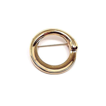 Monet Vintage Brooch Pin Gold Tone Open Round Circle Retro Womens