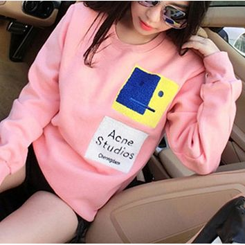 Fashion Sweater patch embroidered smiling sweethearts outfit