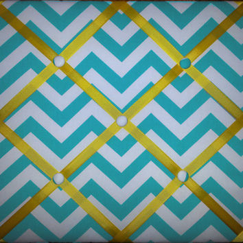 Chevron Print French Memo Board  with Ribbon 16 x 20  -  Bulletin Board - Your choice of fabric and  ribbon colors - FREE DOMESTIC SHIPPING
