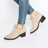 Eeight Octavia Embellished Western Cut Out Suede Heeled Ankle Boots