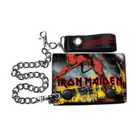 Iron Maiden Men's Number Of The Beast Tri-Fold Wallet Black