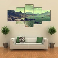 Rocks And Lake On Alien Planet Multi Panel Canvas Wall Art