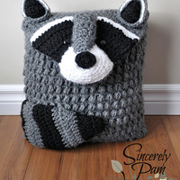 Ringo Raccoon Pillow Cover and Sleepover Bag Crochet Pattern pdf