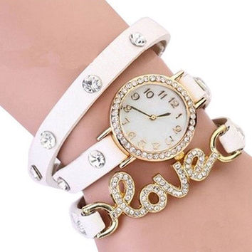 Fantastic Love Wrist Watch Cz Dial Wrap Around Leather Bracelet = 1956513348