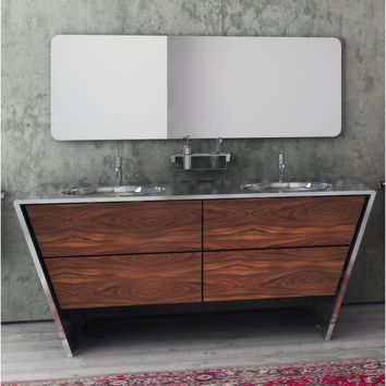 "Quatordici 60-5/8"" Double Sink Master Bathroom Vanity Steel and Solid Wood - THA Sink"