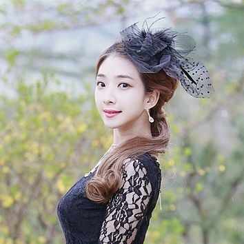 Charming Hair Accessories Elegant Lady Top Net Mesh Birdcage Veil Feather Fascinator Hairpin Hat Clip For Wedding Party