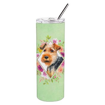 Welsh Terrier Green Flowers Double Walled Stainless Steel 20 oz Skinny Tumbler CK4352TBL20