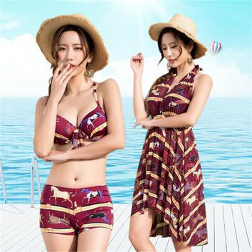 2 Two Piece Bikini 2018 Sexy Women Halter Skirt Bikini Set Summer Swimwear Femme Printed Biquini Bathing Suit Tankini 3 Piece Set KO_21_2
