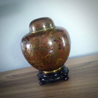 Vintage Japanese Cloisonne ginger jar with lid and stand, enameled urn, vase with lid