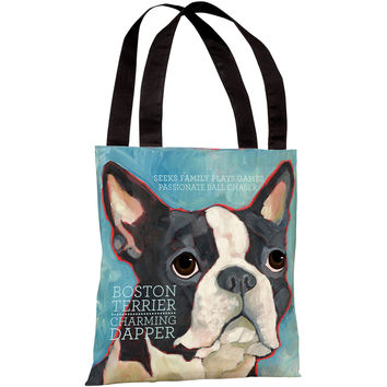 """Boston Terrier"" 18""x18"" Tote Bag by Ursula Dodge"
