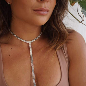 Rhinestone Choker, Diamond Body Chain, Diamond Choker, Body Chain, Long Necklace, Lariat Necklace, Diamond Lariat Necklace, Diamond Necklace