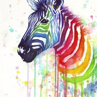 Rainbow Zebra - Ode To Fruit Stripes by Olga Shvartsur