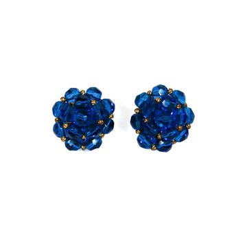 Blue Crystal Earrings, Jonne, House of Schrager, Round, Button Style, Clip On, Designer Vintage Jewelry