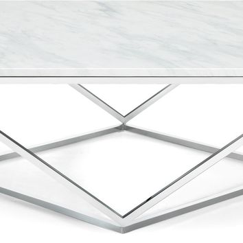 Skyler Chrome Coffee Table Marble Top