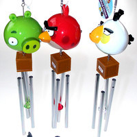 Lot 3 Angry Birds Wind Chime Red White Green Crystal TNT Lock Garden Patio Decor