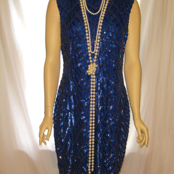 Blue color all beaded silk the great gatsby dress, 1920s flapper dress for women, blue silk womens gatsby dress 20s flapper dress for ladies