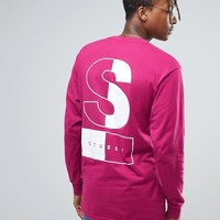 Stussy Long Sleeve T-Shirt With Two Tone Back Print at asos.com