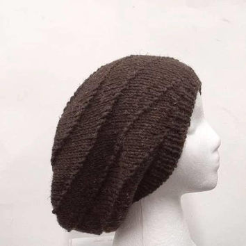 Knitted slouchy beanie hat brown in a swirl pattern  5122