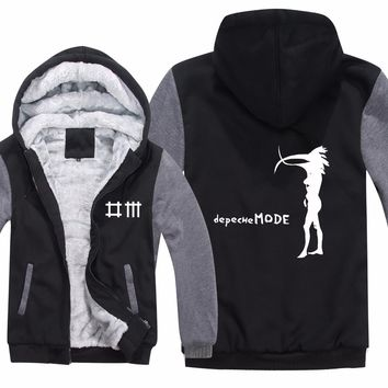 Winter Depeche Mode Hoodies Thick Fleece Printed Alternative Dance Sweatshirt Warm Liner Music Hip Hop Men Jacket