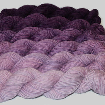 Gradient Yarn Set- Hand dyed Superwash  sock yarn  in Plumeria