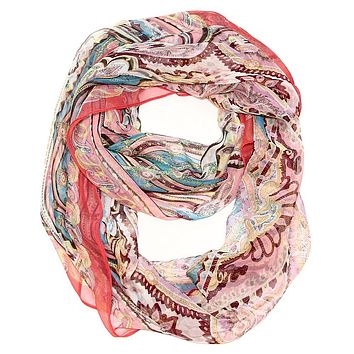 Silk Feel Dream Infinity Scarf  - Red
