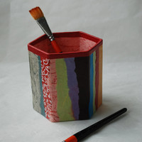 Hanji Patchwork Pen Holder Pencil Case Desktop OOAK Paper Multicolor Red Pink Organic Design