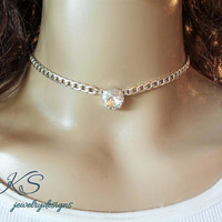 Swarovski Choker, 12mm, Single Stone, Shiny Silver, Crystal Clear, Bridal party gifts, Teen Gifts, DKSJewelrydesigns,FREE SHIPPING