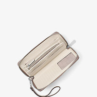 Jet Set Travel Embossed-Leather Continental Wristlet | Michael Kors