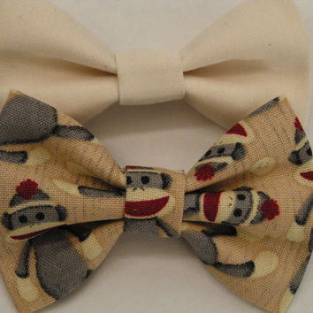 Ivory and gray sock monkey fabric bow clips, baby bows, Bow clips, small fabric hair bows